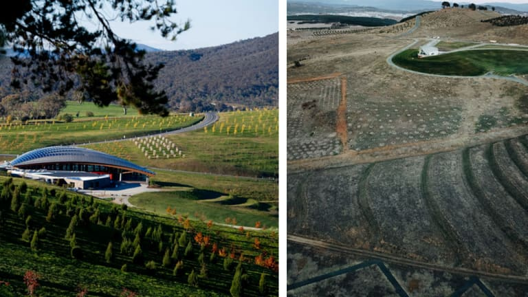 The National Arboretum in Canberra. Then and now.