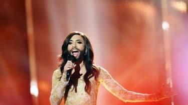 Conchita Wurst representing Austria performs the song 'Rise Like A Phoenix' during the dress rehearsal for the Eurovision Song Contest 2014 Grand Final in Copenhagen.