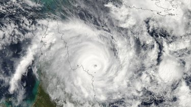 Satellite image of Cyclone Ita approaching the Queensland coast.