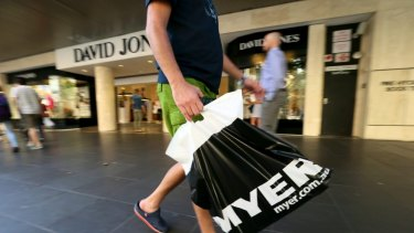 Myer's total sales fell almost 3 per cent in the half.