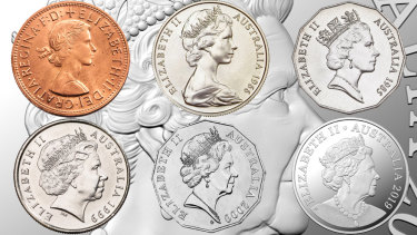 The changing face of Her Majesty Queen Elizabeth II. Her effigy has evolved six times since she first appeared on currency in 1953. It is the first time in 20 years that Australian coins will have a new portrait of the Queen.
