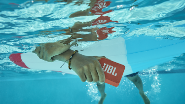 The Go2 speaker is smaller and also waterproof.