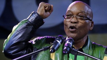 President Jacob Zuma addresses supporters at a victory rally of his ruling African National Congress (ANC) in Johannesburg, on May 10, 2014.