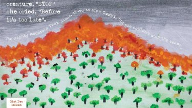 Drawing by Willa. The students of Cobargo Public School wrote a book about the fire that ravaged their town