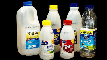 Non-eligible: Milk containers between 150ml and 3L.