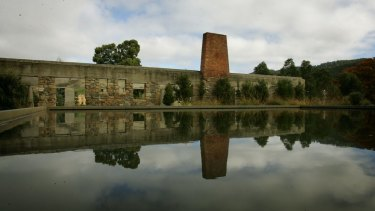 The ruins of the Broad Arrow cafe at Port Arthur have been turned into a  memorial garden and pool to remember the 35 people killed there on April 28 1996.