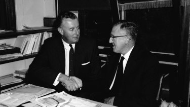 Labor leader Arthur Calwell, right, with his new deputy, Gough Whitlam, in 1960.