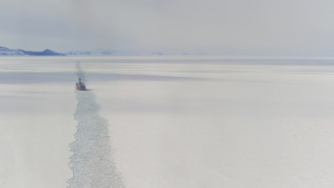 The Coast Guard Cutter Polar Star breaks ice in McMurdo Sound.