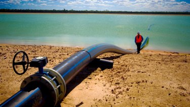 A Queensland coal seam gas evaporation pond.
