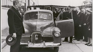 Former Prime Minister Ben Chifley introducing Australia's first car, the Holden 48-215, later known as the Holden FX, at Fisherman's Bend in 1948.