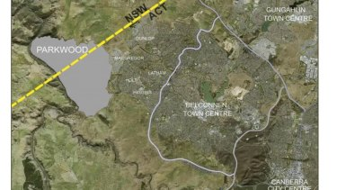 The framework for Parkwood, the NSW-side development of the cross-border Ginninderry project west of Belconnen.