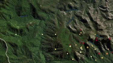 A Geoscience Australia website image showing where bushfires and smaller spot fires are burning around Mount Barney.