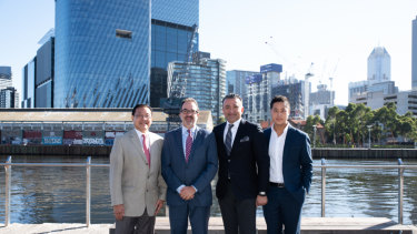 Riverlee founder Clement Lee, Victorian trade minister Martin Pakula, SH Hotels president Arash Azarbarzin, and Riverlee's David Lee  in front of the Northbank site.