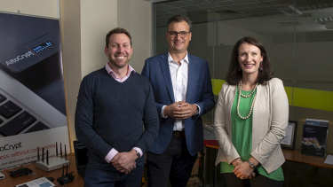 Penten is based in Canberra. From left to right: Ben Whitman, director, Matthew Wilson, chief executive and Sarah Bailey, chief financial officer.