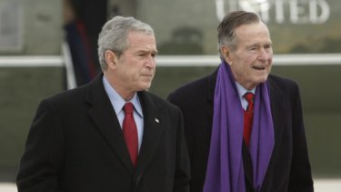 George H.W. Bush senior, right, with his son George W. Bush in Maryland in 2008.