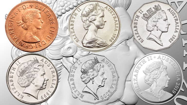 The changing face of Her Majesty Queen Elizabeth II. Her effigy has evolved six times since she first appeared on currency in 1953. It isthe first time in 20 years that Australian coins will have a new portrait of the Queen.