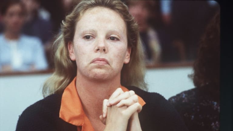 Charlize Theron as the serial killer Aileen Wuornos in Monster.