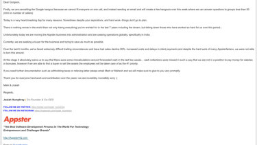 Notice of dismissal email sent to over 150 Appster employees in India.