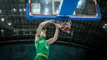 Boomer Jock Landale dunks against Kazakhstan in February.