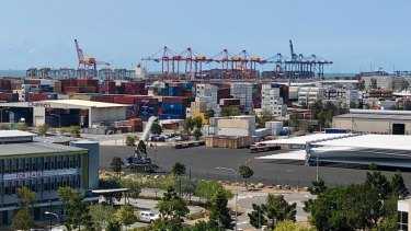 The container wharf at the Port of Brisbane.