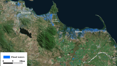 Satellite flood mapping along the Queensland coast, compiled using images from the European radar satellite Sentinel-1A.
