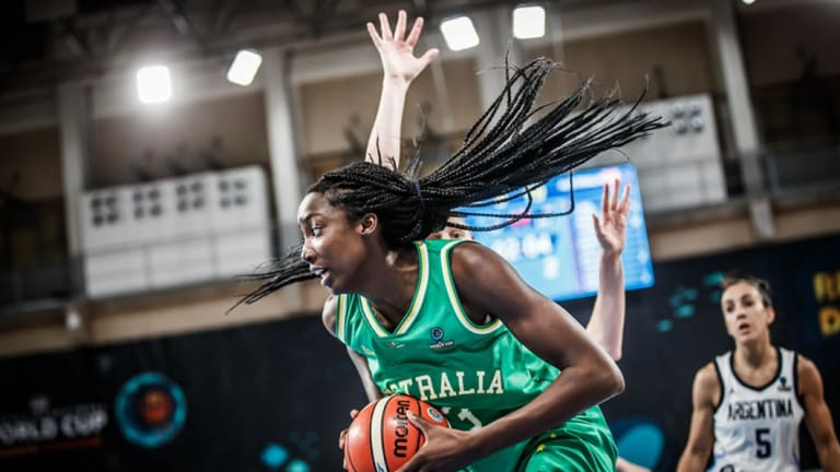 Plain sailing: Opals centre Ezi Magbegor finds space against Argentina.