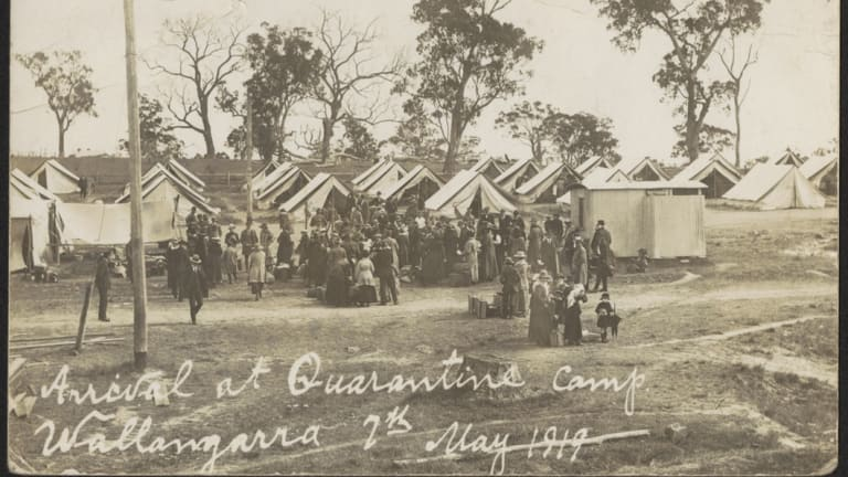 Arrival at quarantine camp in Wallangara.