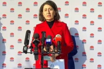 Premier Gladys Berejiklian provides her COVID-19 update on Sunday. She said the pandemic had taken a personal toll.