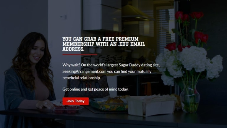 The Sugar Baby University Australia page on SeekingArrangement, which is offering free premium memberships to anyone who signs up with a .edu email address.
