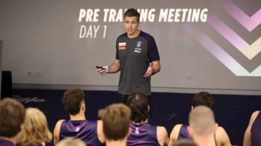New Fremantle senior coach Justin Longmuir addresses the Dockers at his first training session in charge.