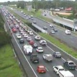 The Bruce Highway northbound congestion in Burpengary about 4.30pm on Friday.