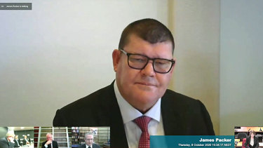 James Packer giving evidence to the NSW casino inquiry in October.
