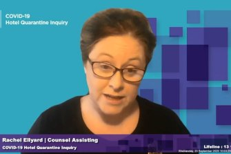 Counsel assisting the inquiry, Rachel Ellyard.