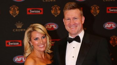 Nathan and Tania Buckley at the 2016 Brownlow Medal count.