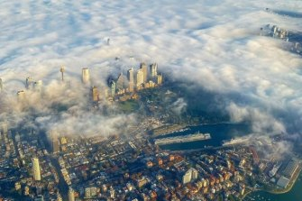 Federal Opposition Leader Anthony Albanese took this photo of smoke over Sydney on a flight to Brisbane.