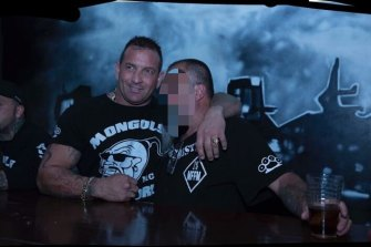 Former bikie Shane Bowden at a Melbourne Mongols clubhouse with another gang member.