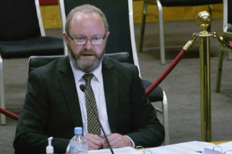 Office of Local Government CEO Tim Hurst before a parliamentary inquiry.