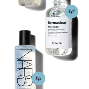 Dr. Jart+ Dermaclear Micro Water, $46. Nars Aqua-Infused Makeup Removing Water, $42.