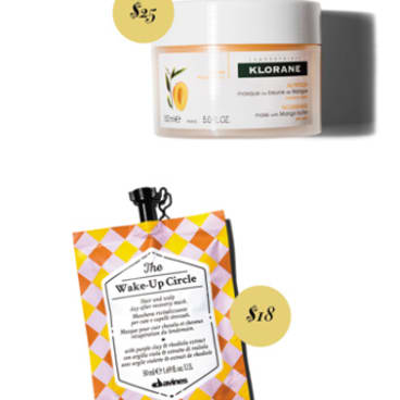 Klorane Nutrition Masque with Mango Butter, $25. Davines The Wake-Up Circle, $18.