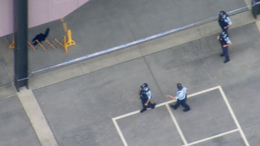 Police at Arthur Phillip High School in Parramatta after a student was stabbed.