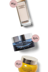 Chanel Sublimage Ultimate Redefining Concentrate, $635. HydroPeptide Nimni Cream, $380. L'Occitane Immortelle Divine Crème Légère, $150.