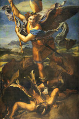 Key defender: Saint Michael offers protection against the wickedness and snares of the devil. Original artwork by Raphael.