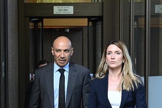 Moses Obeid (left) leaving the NSW Supreme Court.