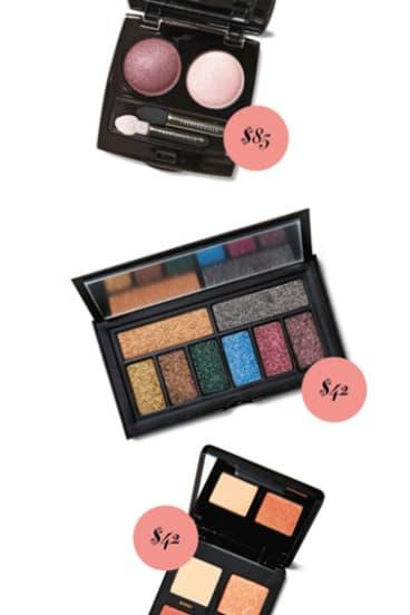 Chantecaille Eyeshadow Le Chrome Lux Eye Duo in Kenya, $85. Smashbox Cover Shot Bold Glitter Eye Palette, $42. Bare Minerals Gen Nude Eyeshadow Palette in Copper, $42.