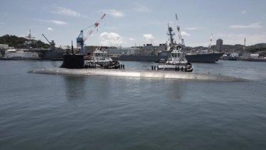 The USS Connecticut submarinein Yokosuka, Japan in July.