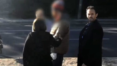The man (with his face blurred) was arrested over the alleged sexual assault of a woman and the assault of a man last week.