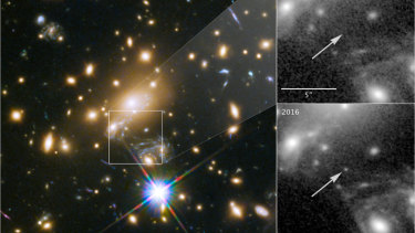 Icarus, the furthest individual star ever seen. The panels at the right show the view in 2011, without Icarus visible, compared with the star's brightening in 2016.