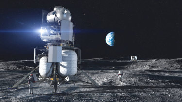 Artist concept of the Blue Origin National Team crewed lander on the surface of the Moon.