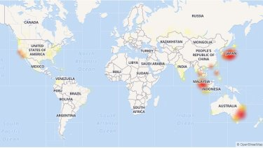 The Down Detector Gmail outage map as at 3.30pm Wednesday.