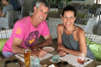 Kate James with husband Chris, who was diagnosed with cancer.